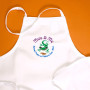 Children's apron. One size fits all.  Embroidered. Design reads: Mo'o & Me,  BanyanTreats Li'l Bakers Club • Maui