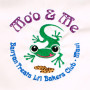 Detail of embroidered design reads: Mo'o & Me,  BanyanTreats Li'l Bakers Club • Maui Children's apron. One size fits all.