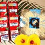 4 Maui MoJoe 8oz. bags of Coffee with Lauhala Basket