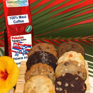 One Batch (8) Freshly Baked Honi Kukis and one 8oz. bag of 100% Maui Coffee